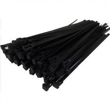 Reusable Cable Ties 7.6mm x 250mm Black x 100