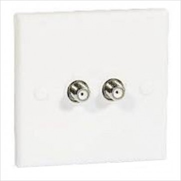 Twin 'F' Coupler Wall Plate