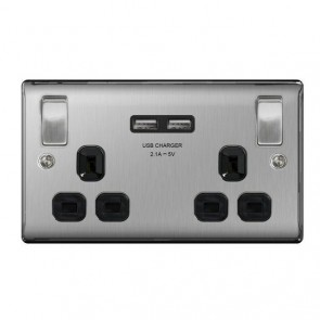 Brushed Steel, Black Finish, Double Switched Socket With 2 Gang x 2 USB Charger