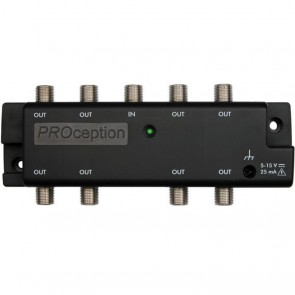 Proception PROAMP108U 8 Way Micro Aerial Distribution Amplifier With Local Or Remote Powering Option