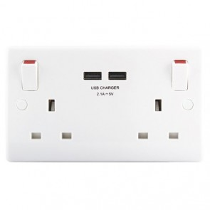 British General Nexus 822U-01-IC(A) Double Switched Socket with USB Charger 2.1A USB Output