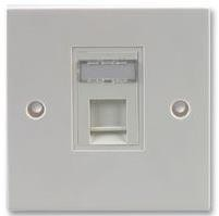 Keystone Shuttered Faceplate Flush RJ45 Single