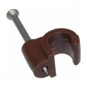 Coax Cable Clips 6-7mm Brown x100pcs