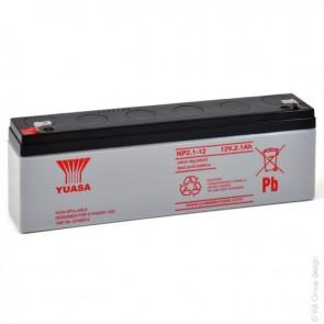 YUASA NP2.1-12 12 Volt 2.1Ah Sealed Lead Acid Battery