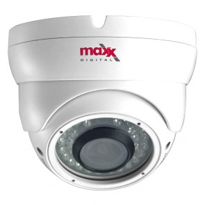 MaxxOne AHD 2.4MP 1080P 2.8-12mm Lens 30m External IR Dome Surveillance Camera (White)