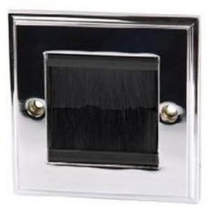 Single Width Cable Entry/Exit Faceplate Brushed Chrome