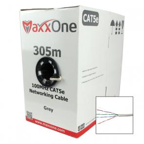 MaxxOne CAT5E 305m, UTP Data, CCA Indoor Cable (Grey)